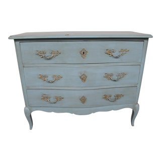 20th Century Vintage Painted Blue Commode For Sale