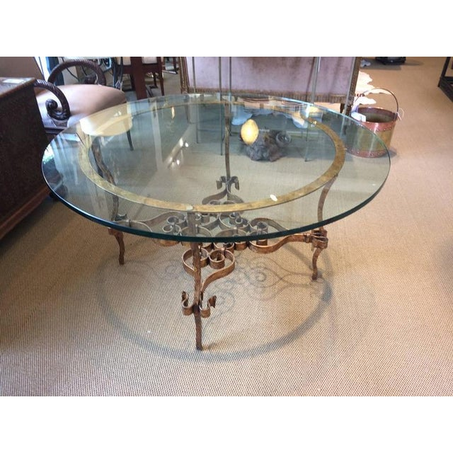 Italian Gilt Metal & Glass Round Table For Sale - Image 4 of 5