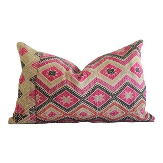 Antique Hmong Tribal Fabric Lumbar Pillow For Sale