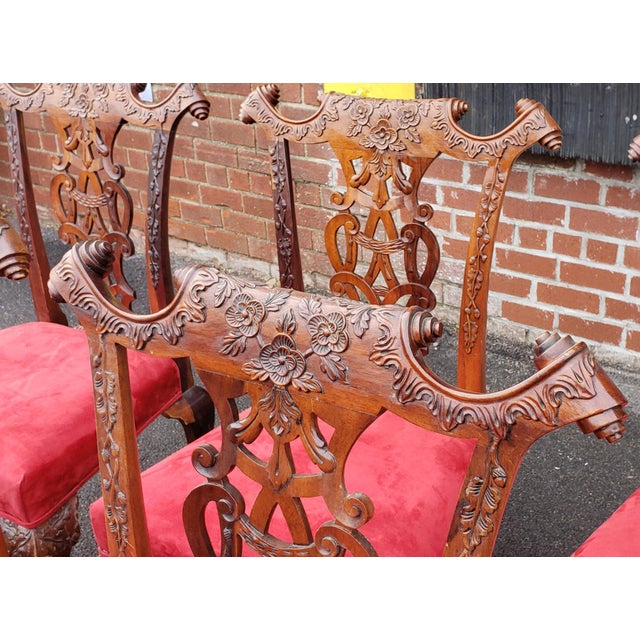 1980s Vintage Heavily Carved Mahogany Chippendale Style Dining Room Side Chairs- Set of 6 For Sale - Image 12 of 13