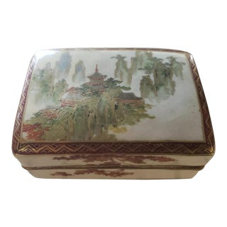 1912-1926 Japanese Koshida Satsuma Porcelain Temple Motif Trinket Box For Sale