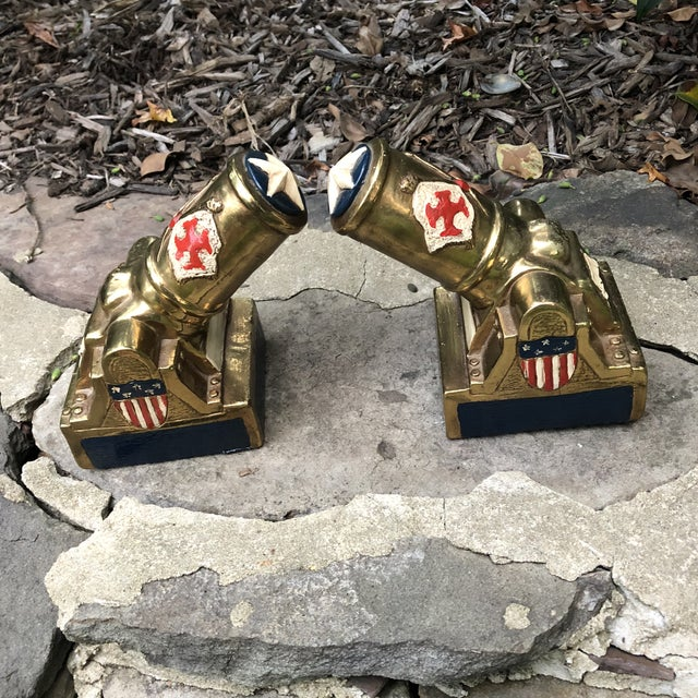 Americana Marion Bronze Co. Americana Patriotic Cannon Bookends - a Pair For Sale - Image 3 of 12