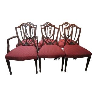 Fleur De Lis Carved Solid Mahogany Hepplewhite Style Dining Chairs - Set of 6 For Sale