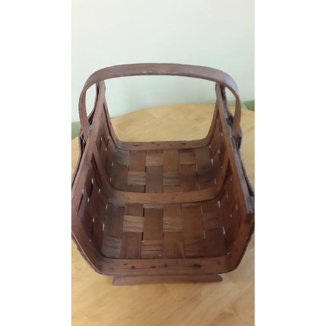 """Early 20th century split oak basket. Made in the United States. I've seen another basket like this marked """"Perterboro..."""