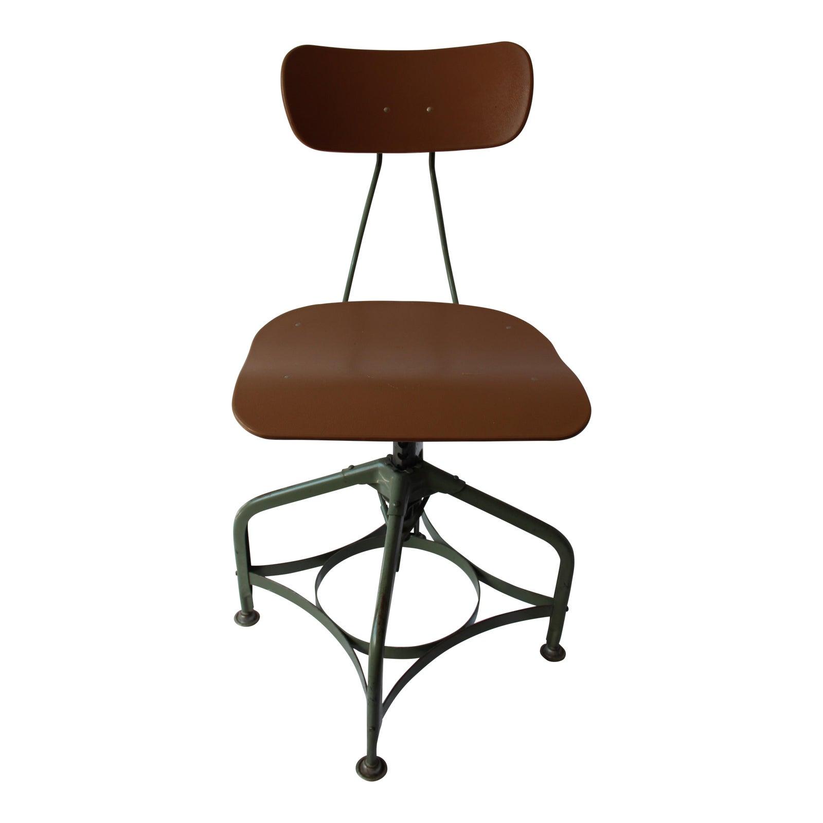"""4s Vintage Toledo """"Uhl Art Steel"""" Furniture Adjustable Drafting Chair"""