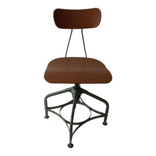 "1950s Vintage Toledo ""Uhl Art Steel"" Furniture Adjustable Drafting Chair For Sale"