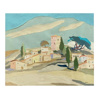 "Yvonne Canu ""Village on a Hill"", Expressionist Papier-Déchiré Landscape, 1970s For Sale"