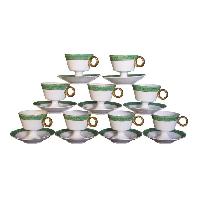 Mid Century Demi-Tasse Cups & Saucers - Service for 9 For Sale