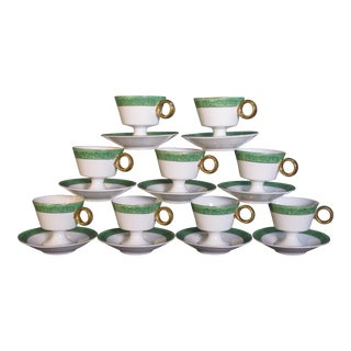 Set of 9 Mid Century Demi-Tasse Cups & Saucers For Sale