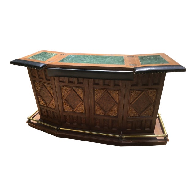 Vintage Carved Chinese Oriental Style Folding Expandable Bar Cabinet For Sale