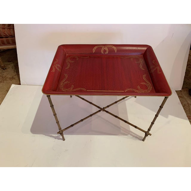 Tray Top Side Table With Gilt Bamboo Base For Sale - Image 13 of 13