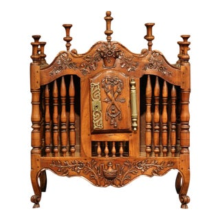 Mid-19th Century French Louis XV Carved Walnut Panetiere For Sale
