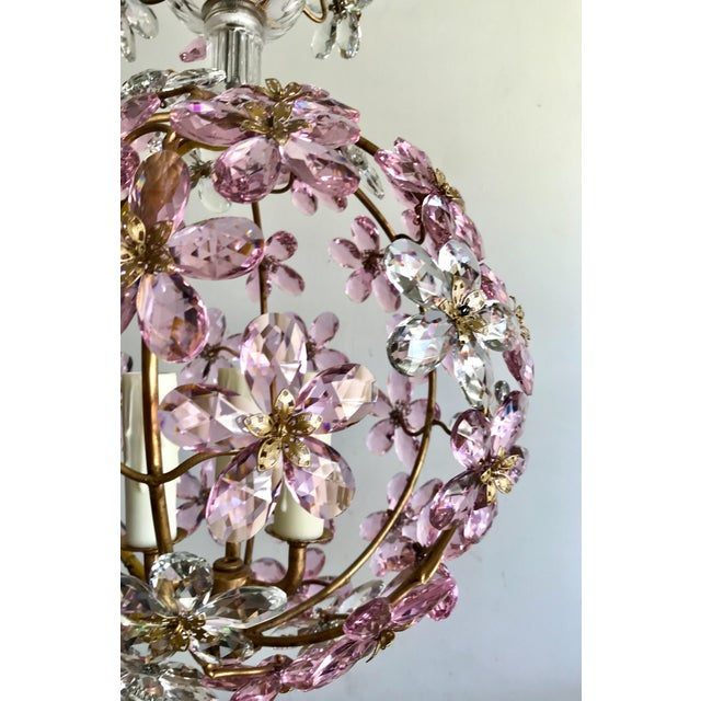 Boho Chic Pink Floral Crystal Globe Beaded Chandelier For Sale - Image 3 of 5