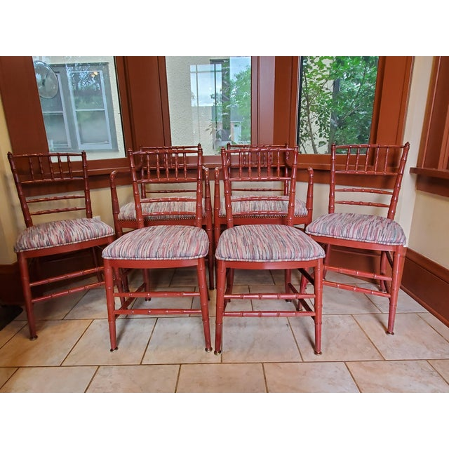 Mid-Century Hollywood Regency Faux Bamboo Dining Chairs- Set of 6 For Sale In Minneapolis - Image 6 of 6
