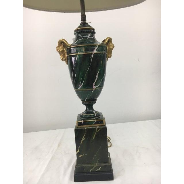 Mid-Century Modern 1940s Restored Ormolu Ram Head Table Lamp For Sale - Image 3 of 6