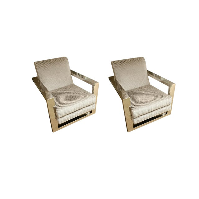 Gray Upholstered Stainless Steel Armchairs by Thayer Coggin - a Pair For Sale