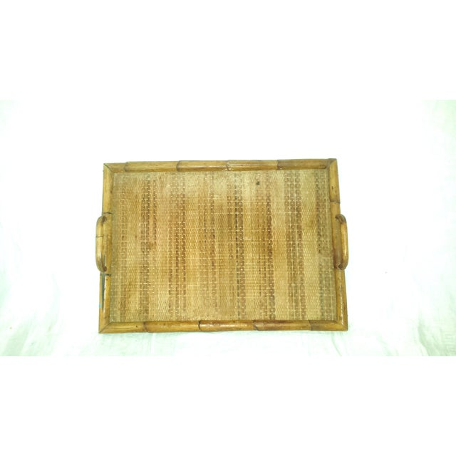 Vintage Bamboo Serving Tray For Sale - Image 5 of 8