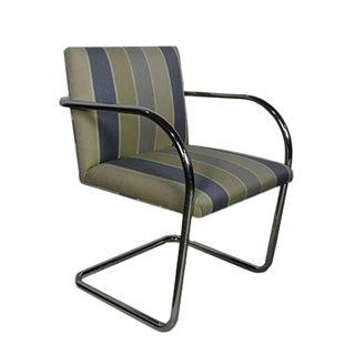 Replica Knoll Brno Tubular Side Light Blue Striped Chair For Sale