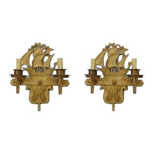 American Victorian style bronze 2 arm wall sconces- A Pair For Sale