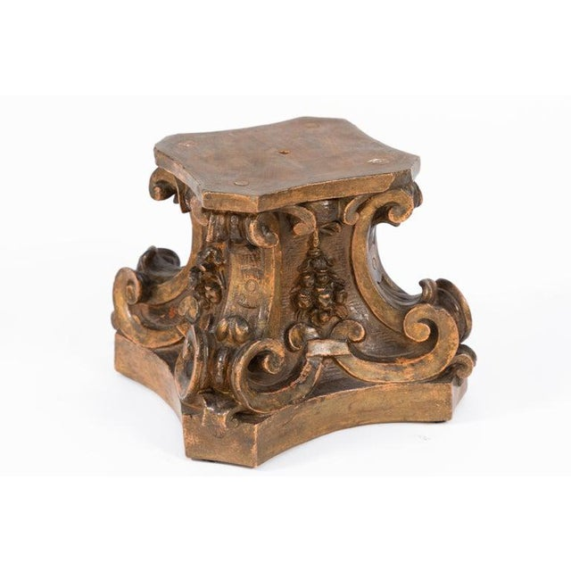 19th century group of 4 Italian terracotta pedestals of small size. Original finish. The top flat surface measures 6 x 6...