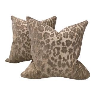 Cowtan & Tout Epingle Jaguar Velvet Pillows - A Pair For Sale