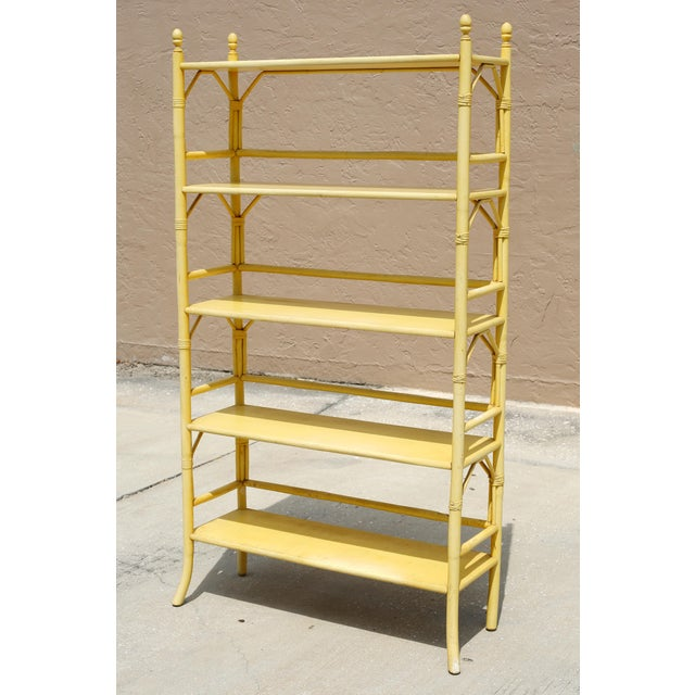 Vintage Yellow Rattan Etagere - Heavy For Sale - Image 12 of 12
