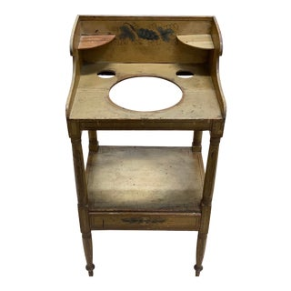 Antique 1930s Wooden Painted Wash Stand For Sale