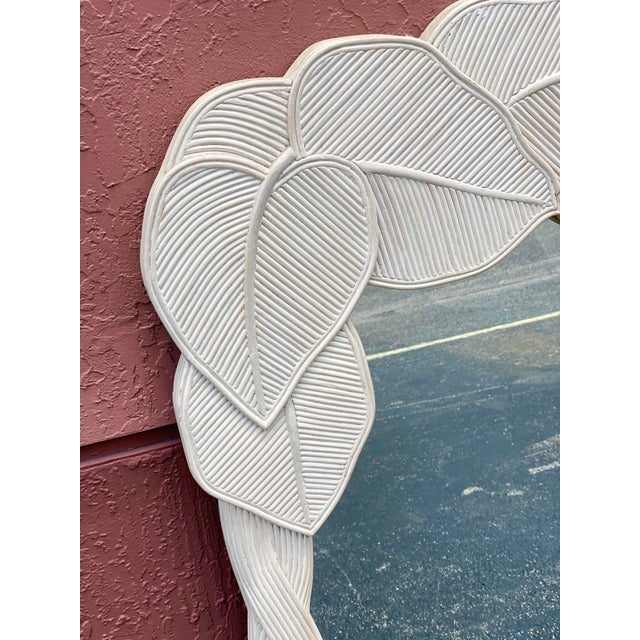 Late 20th Century Vintage Boho Chic Pencil Reed Wrapped Leaves Mirror For Sale - Image 5 of 11