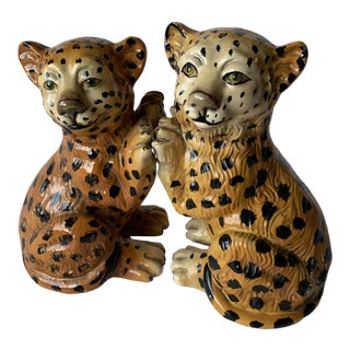 1960s Vintage Hand Painted Majolica Pottery Sculpture Leopard Bookends - a Pair For Sale