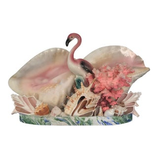 Large Vintage Handmade Pink Flamingo and Sea Shell Sculpture Tv Lamp For Sale