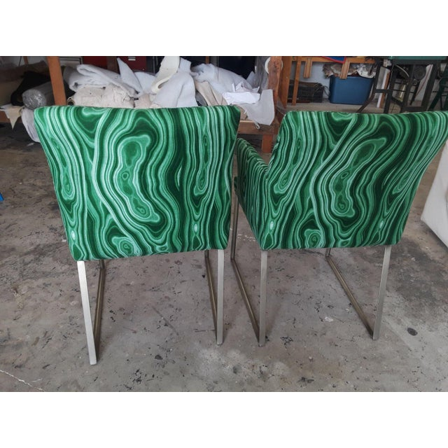 Malachite Upholstered Arm Chairs - A Pair - Image 3 of 5