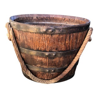 French Wooden Bucket With Rope Handle For Sale