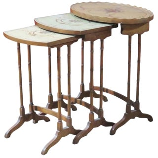 Three French Style Paint Decorated Nesting Tables For Sale