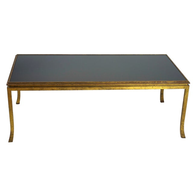 French Maison Ramsay Gilt-Bronze and Black Opaline Glass Top Coffee Table For Sale - Image 3 of 4