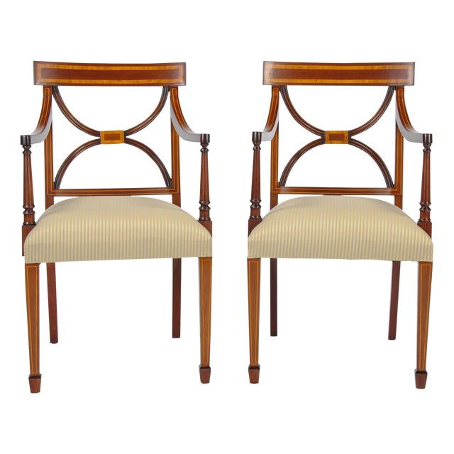 Sheraton Inlaid Mahogany Arm Chairs - A Pair For Sale
