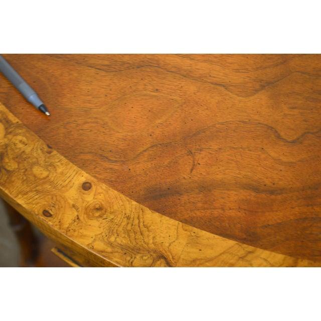 Baker Vintage Burl Wood & Walnut Demilune Console Table For Sale - Image 11 of 13