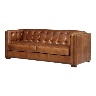 Crafters and Weavers Light Brown Tuxedo Leather Sofa For Sale