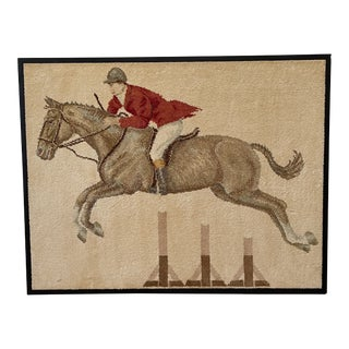 1960s Mounted Belgium Silk Equestrian Rug For Sale