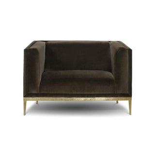 Custom Original - Mohair Club Chair With Brass Finished Stiletto Base
