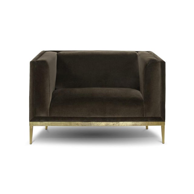 Custom Original - Mohair Club Chair With Brass Finished Stiletto Base For Sale - Image 4 of 4