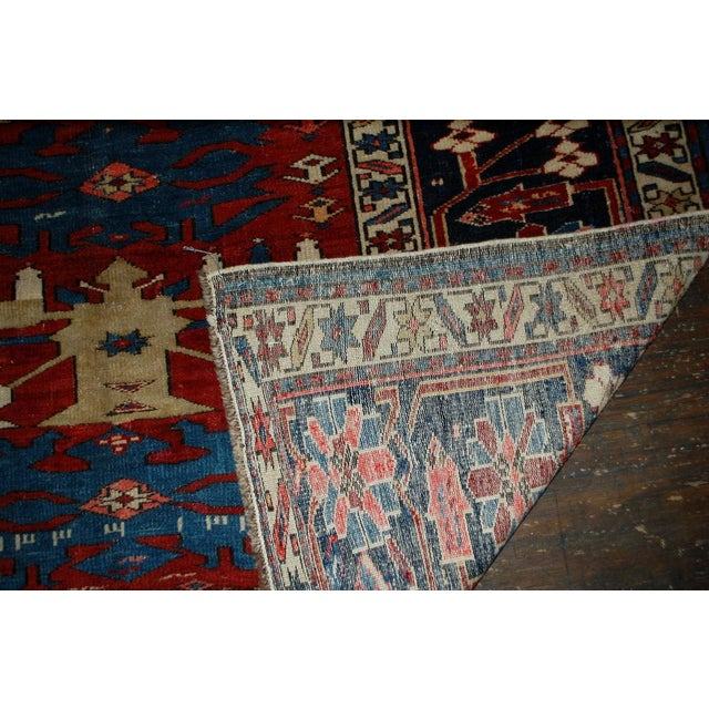 Antique handmade Caucasian Shirvan rug in good condition. This rug was made in Azerbaijan. Very interesting narrow central...