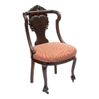Mahogany Antique Chairs in Fortuny Fabric For Sale