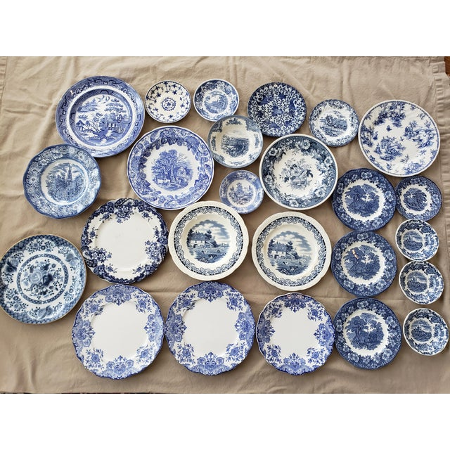 Ceramic Vintage Blue & White China Plates-Set of 25 For Sale - Image 7 of 9