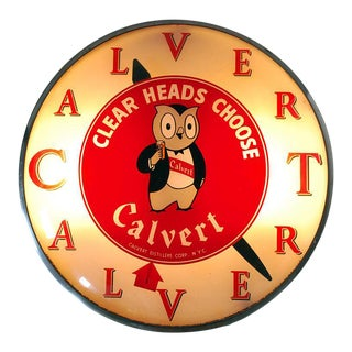 Vintage Light Up Calvert Whiskey Bar Clock For Sale