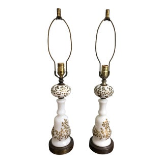 Lalique Hollywood Regency Berger Gilt Table Lamps - A Pair