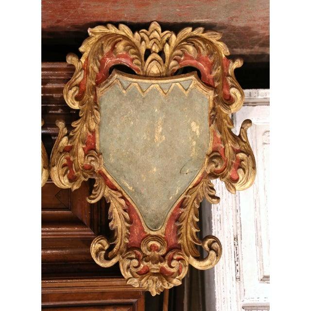 Gothic Early 20th Century Italian Carved Gilt and Painted Wall Hanging Shields - a Pair For Sale - Image 3 of 9