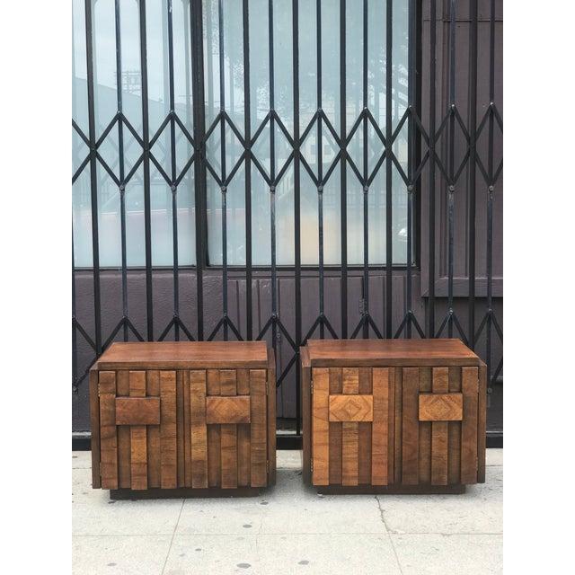 Pair of Brutalist Mid Century Modern Nightstands by Lane - Image 11 of 11
