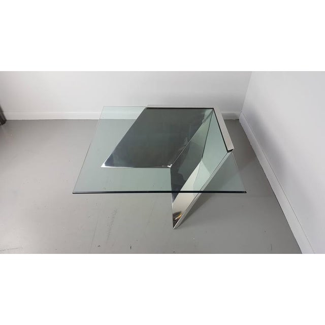 Brueton Brueton J. Wade Beam Cantilevered Stainless Steel Coffee Table For Sale - Image 4 of 6