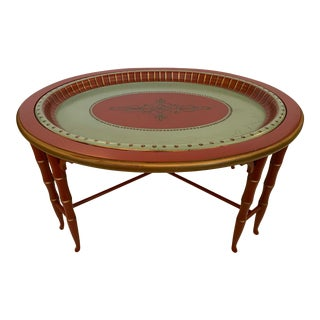 Faux Bamboo and Painted Tray Coffee Table For Sale