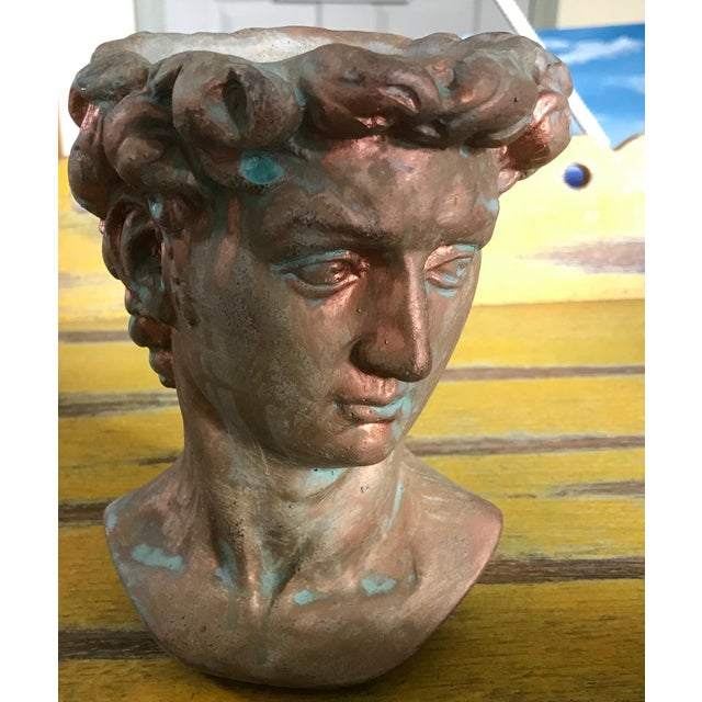 Copper Michelangelo's David Bust Copper Patina Indoor Outdoor Head Planter For Sale - Image 8 of 8